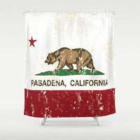 Pasadena California Republic Flag Distressed Shower Curtain by NorCal