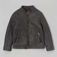 Dark Charcoal Top-Stitch Moto Jacket - Toddler & Boys