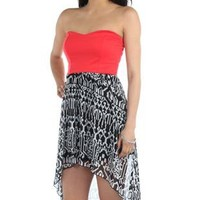 strapless high low casual dress with tribal print skirt