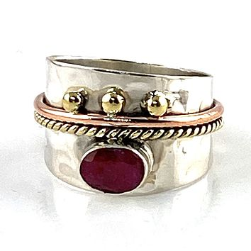 Ruby Three Tone Sterling Silver Regal Band Ring