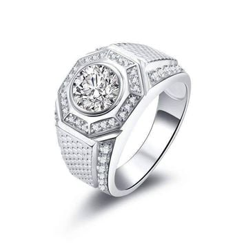 Horus 2CT Round Cut Pavé Octagon IOBI Simulated Diamond Men's Ring