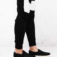 Mens XQUARE 23 Contrast White Pintuck Paneled Jersey Pants Jogger at Fabrixquare