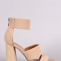 Bamboo Double Band Ankle Cuff Chunky Heel