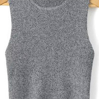 Grey Sleeveless Crop Top