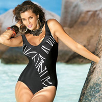 Black  Printed One Piece Swimsuit