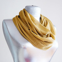 Handmade Golden Silvery Infinity Scarf - Summer Scarf  - Cotton Jersey -  Shimmer