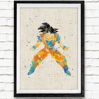 DBZ Goku Watercolor Print, Dragon Ball Baby Nursery Room Art, Minimalist Home Decor Not Framed, Buy 2 Get 1 Free!