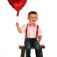 Boys Valentines Outfit -- Toddler Valentines Outfit -- Bow Tie Suspenders -- Red Suspenders & Bright Coral Bow Tie -- Ring Bearer Outfit