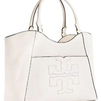 Tory Burch Bombe T Leather E/W Tote Bag Women's Leather Handbag