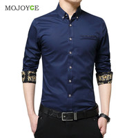 New Men Fashion Luxury Slim Fit Stylish Dress Shirts Floral Print Long Sleeves Cotton Business Dress Shirt Plus Size SN9
