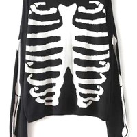 Edgy Skeleton Print Sweater