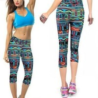 Yomsong Capri Leggings High Waisted Floral Printing Yoga Pants Lady's Finess Workout Casual Waves Pants Gym Wear 2 Sizes = 5697888961