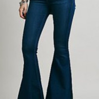 Deep Blue Vintage Low-Waisted Bell Bottom Jeans
