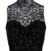 Pretty Attitude Womens Black Velvet Crop Top with Lace Detail