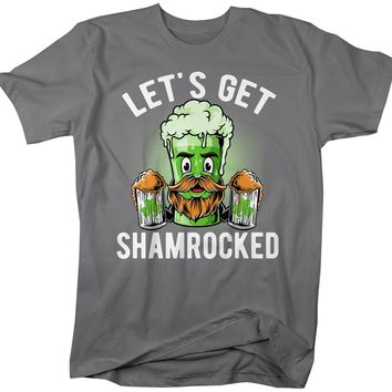 Men's Funny Beer T-Shirt Shamrocked St. Patrick's Day Shirts Graphic Tee Let's Get Tshirt Hipster TShirts