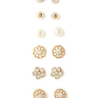 FOREVER 21 Mixed Floral Stud Set Gold/Clear One