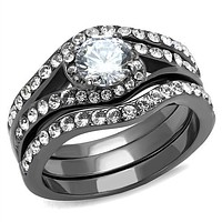 Wedding Ring Sets TK2739 Light Black Stainless Steel Ring with CZ