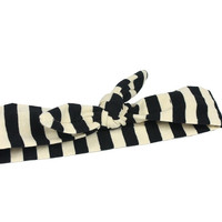 Black and Cream Stripe Knotted Headband Wrap
