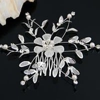 Silver Plated Crystal Flower Leaf Faux Pearl Wedding Party Hair Comb Pin free shipping