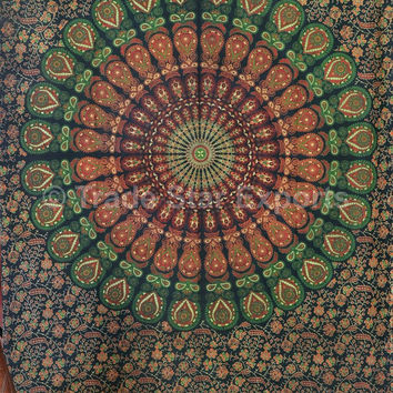 Twin Size Mandala Tapestry Wall Hanging, Indian Bedspread, Peacock Feathers Wall Art, Dorm Room Decor, Picnic Blanket, Bohemian Tapestries