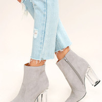 Illuminate Light Grey Suede Lucite Ankle Booties