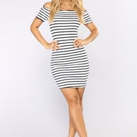 Anesca Stripe Dress - Ivory/Navy