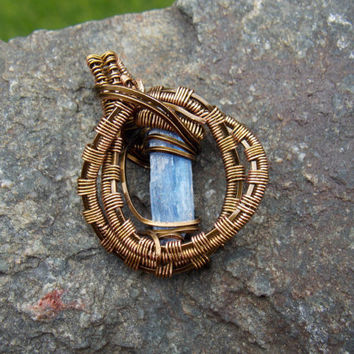 Small Wire Wrapped Pendant with Blue Kyanite and Copper // Heady Wrap Festival Jewelry