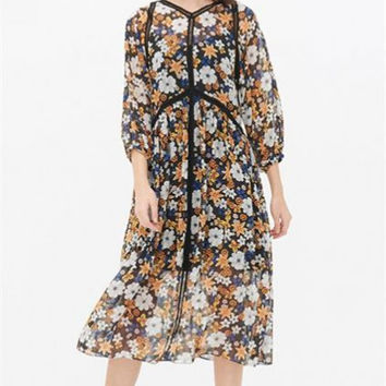 V-Neck Lantern Sleeve Stitching Floral Dress