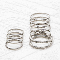 Etched and Beaded Midi Ring Set