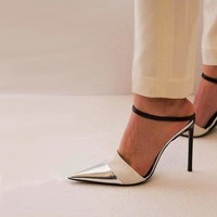 Bling Bling PU Buckle Strap High Heel Cut out Pumps
