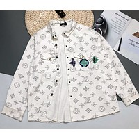 LV  white printed 2020 new long sleeve denim jacket