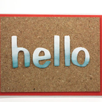 Hello Greeting Card, Just Because, Blue Ombre, Spring Cards, Cork