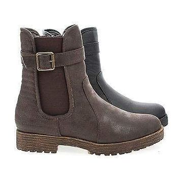 Rugged04 By Bamboo, Round Toe Quilted Moto Lug Sole Faux Wooden Heel Ankle Boots