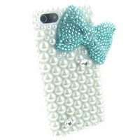 NEW! IPHN5! BIG BLING Blue Bow 3d Handmade Faux Pearl Crystal & Rhinestone Iphone 5 case/cover by Jersey Bling