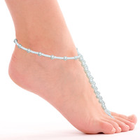 Elastic Handmade White Pearl Beaded Anklets With Toe Ring