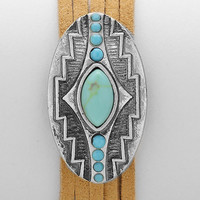 Aztec Howlite Suede Layered Bracelet, Boho Tribal Festival Cuff - Turquoise / Silver