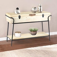 Handmade Wood and Metal Box Console Table with Removable Storage, Brown and Black