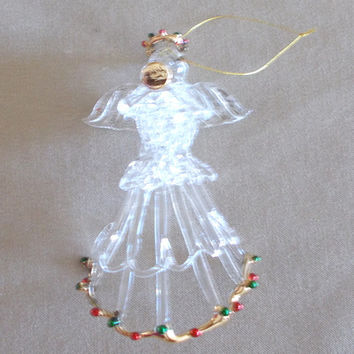 Vintage 1980's Hand-blown Glass Christmas Angel w/ Gold Red & Green, Delicate, Lacey, Tree Ornament, Holiday Decor, Family Gift, Tradition