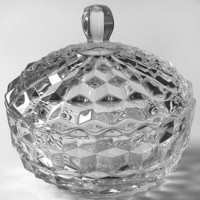 American Fostoria Clear Cubist Candy Dish with Lid