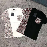 Louis Vuitton LV Summer Fashion Women Men Casual Print Color Matching Short Sleeve Top T-Shirt