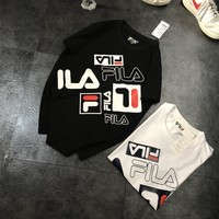 """Fila"" Unisex Sport Casual Fashion Multicolor Letter Print Couple Short Sleeve T-shirt Top Tee"