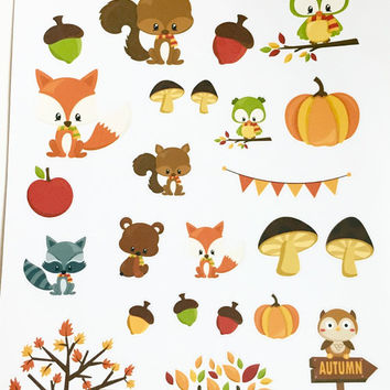 Fall Animals Wildlife Squirrel Fox Racoon Bear Planner Stickers Decorative Kit
