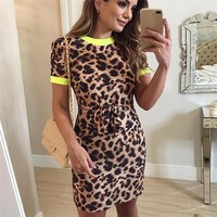Womens Summer Leopard Print Dress Short Sleeve Roun Neck Sexy Package Hip Skirt Lady Style Dresses
