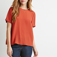 Cuffed-Sleeve Crepe Blouse