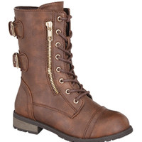 Girls Brown Lace Up Combat Boots