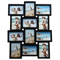 Decorative Black Wood Wall Hanging Collage Basket-Weave Picture Photo Frame
