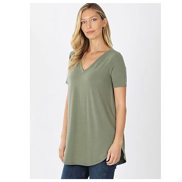 Your New Favorite! Classic V Neck Top - Lt. Olive
