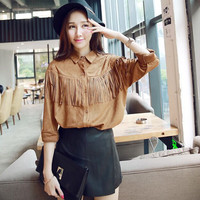 Brown Tassel Long-Sleeve Button Collared Suede Shirt