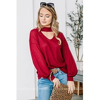 High Neck Waffle Knit Top | Burgundy