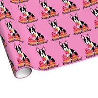 Boston Terrier Cupcakes Birthday Gift Wrap